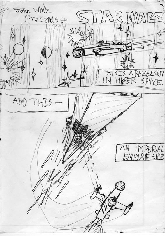 It's the opening scene of Star Wars - by a 9 year old. The rebel ship emerges form hyperspace and is fired upon by the big Imperial ship, in this Star Wars comic adaptation