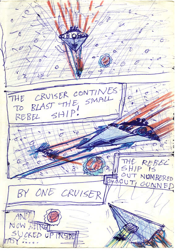 The Rebel blockade runner, the Tantive IV is captured and pulled into the Imperial Star Destroyer, Devastator with a tractor beam—In this Star Wars comic page by a kid
