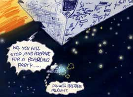 Imperial Star Destroyer pursues the Tantive IV in this kid's Star Wars comic adaptation of 1977