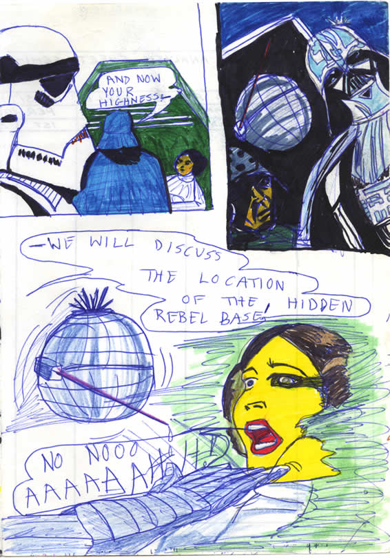 In the detention block of the Death Star, Darth Vader interrogates Princess Leia, in this late 1970s Star Wars comic page by a kid in Ireland