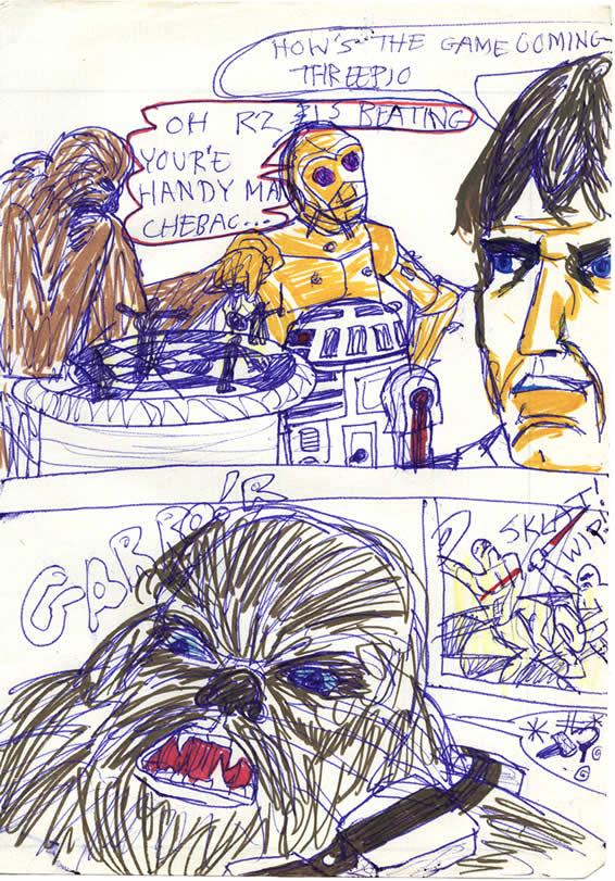 Chewbacca and R2-D2 play a game of Dejarik onboard the Millennium Falcon until Chewie becomes enraged at losing. In this 1970s Star Wars comic by a kid in Ireland
