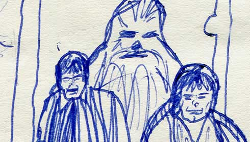 han chewie and luke in the throne room scene. star wars comic page detail image