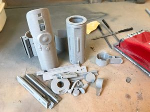 Alle geschuurde onderdelen liggen te wachten op een laagje XTC-3D.