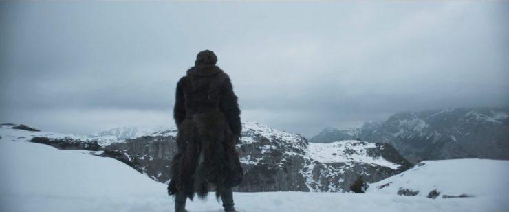 Waarna we Han in een warme jas in de sneeuw zien staan en zijn voice over zegt dat hij een piloot gaat worden, de beste in het sterrenstelsel.