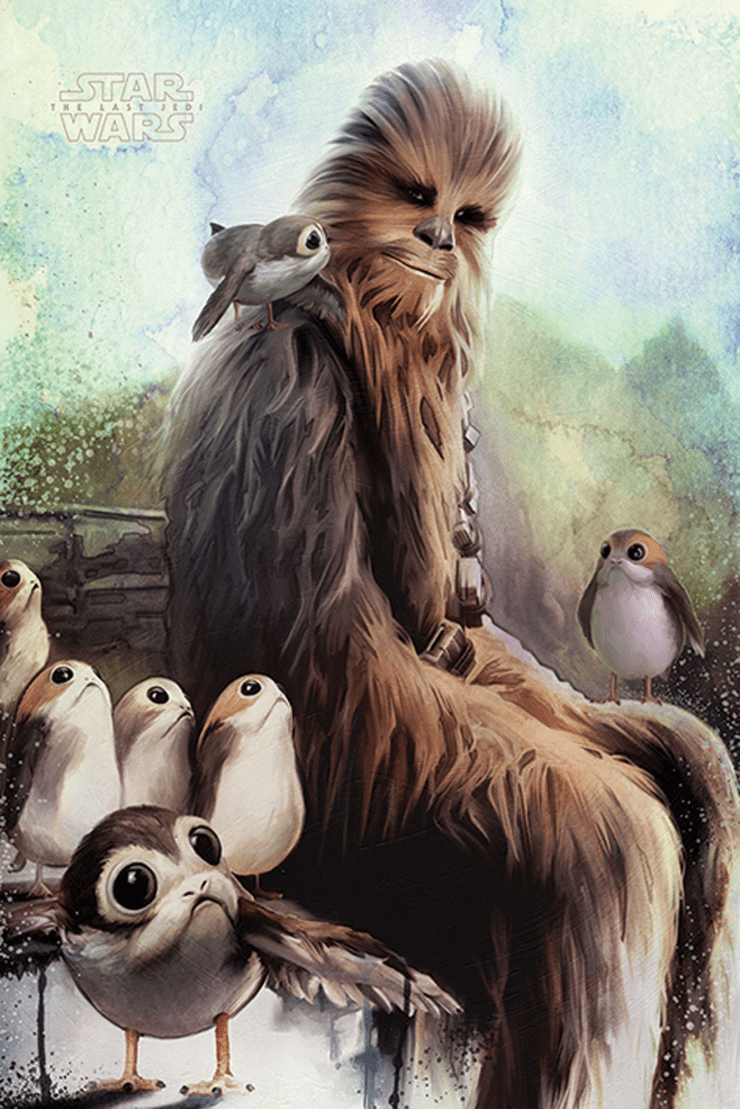 The Last Jedi Porgs and Chewbacca (Wallpaper) 1