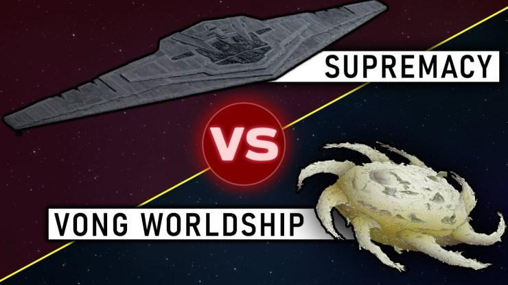 Mega Star Destroyer vs. Yuuzhan Vong Worldship
