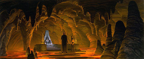 Concept art of Luke confronting the Emperor that would later define Mustafar in Revenge of the Sith
