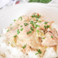 Slow Cooker Cream of Asparagus Pork Tenderloin Casserole