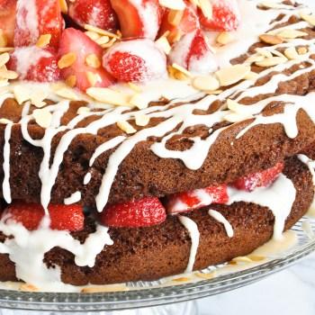 Chocolate Strawberry Almond Glaze Cake