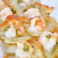Shrimp Pesto Pizzettes
