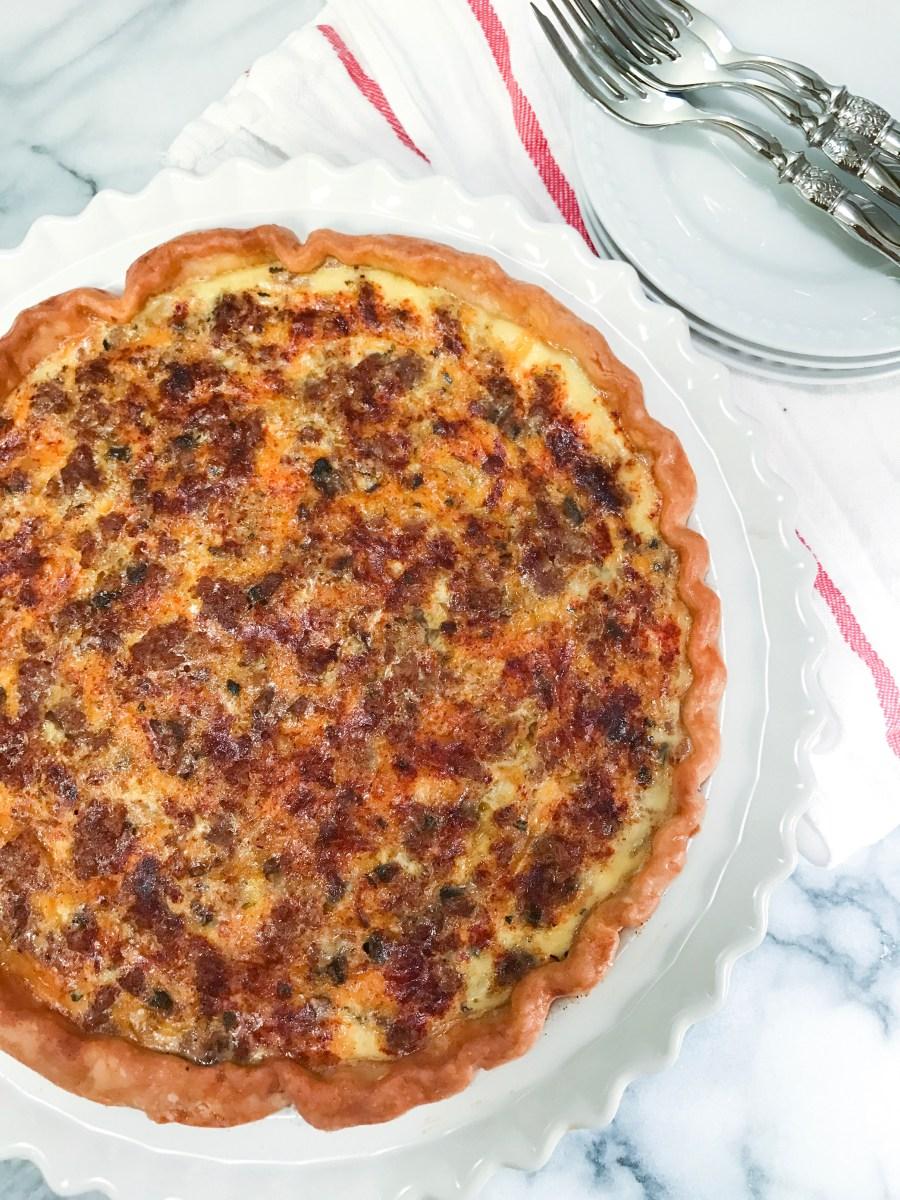 Sausage Cheddar Mushroom Quiche