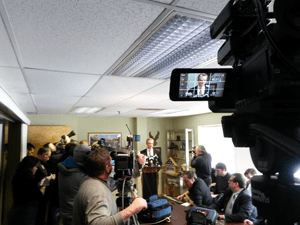 View of the media covering Rob Andrews press conference, from our camera position.