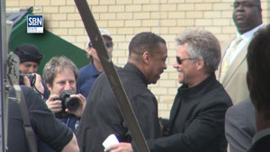 Jon Bon Jovi, rock musician and major donor to Joseph's House, a homeless shelter in Camden, NJ, is greeted at ribbon cutting ceremony April 1 at the shelter.