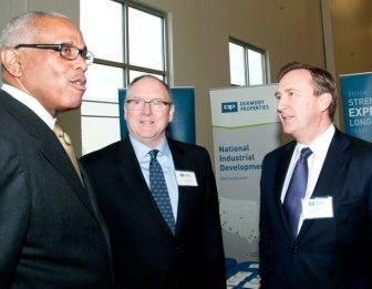 Chatting at the groundbreaking are, from left: Logan Twp. Mayor Frank Minor, Gene Preston and Doug Kiersley, both of Dermody. (Steve Lubetkin photo)