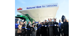 The ribbon is cut on the new compressed natural gas (CNG) fueling station at the Wawa store, Berkley Road, Paulsboro, NJ. South Jersey Gas is providing the fuel. (Steve Lubetkin Photo)