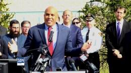 US Sen. Cory Booker (D-NJ) speaking at the Katz JCC in Cherry Hill March 6.