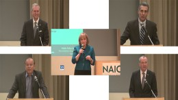 Five NJ gubernatorial hopefuls who spoke at NAIOP-NJ Economic Development Forum in New Brunswick, NJ, Mar. 3. Clockwise from upper left: Democratic Assemblyman John Wisniewski; GOP Assemblyman Jack Ciattarelli; Democrat Phil Murphy; Democratic State Sen. Raymond Lesniak; and at center, GOP Lt. Gov. Kim Guadagno
