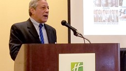 Larry Cohen, economist from SRI, speaking at NJ Bank Marketing Association economic outlook event, 12/7/2017