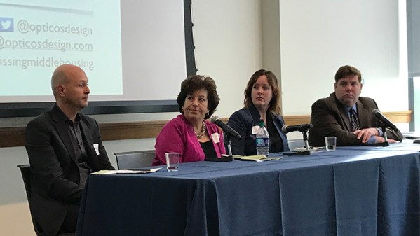 """Panelists at the """"Missing Middle Housing"""" program held Oct. 12, 2018 at Drexel University were, from left: Daniel Parolek of Berkeley, CA-based Opticos Design; Sarah Peck of Progressive New Homes, Malvern, PA; Kara Kneidl of 5th Square; and Kevin C. Gillen, Ph.D., senior research fellow at the Lindy Institute for Urban Innovation at Drexel University"""