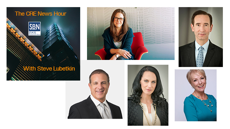 Guests on this week's CRE News Hour, clockwise from top center: Lauren Gilchrist of JLL; Matthew Harding of Levin Management, author Katie Coates; Melissa Sievwright of Levin Management; and Eric Rapkin of the Akerman law firm