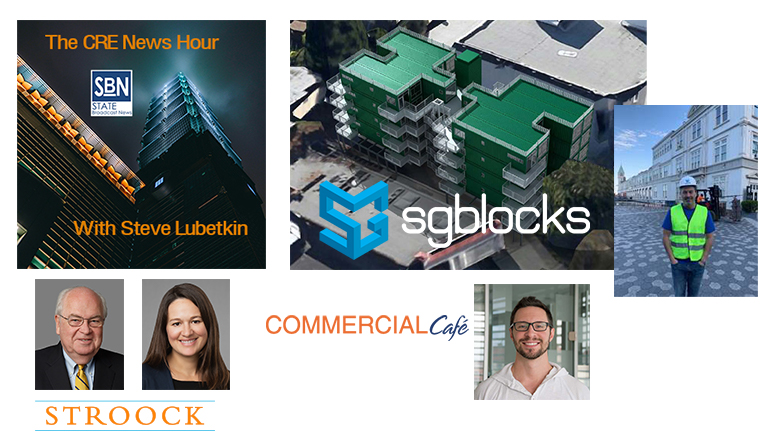 On the October 25, 2019 CRE News Hour, guests are (clockwise from right): Paul Galvin, CEO of SGBlocks; Patrick McGregor of Commercial Cafe; Tatiana Sullivan and Chris Griner of the Stroock law firm