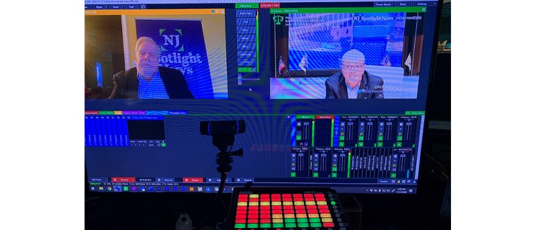 vMix switching platform showing NJ Gov. Phil Murphy on Program Monitor, and panel moderator Tom Johnson from NJ Spotlight News in the preview. SBN livestreamed the program from its broadcast center in Cherry Hill, New Jersey