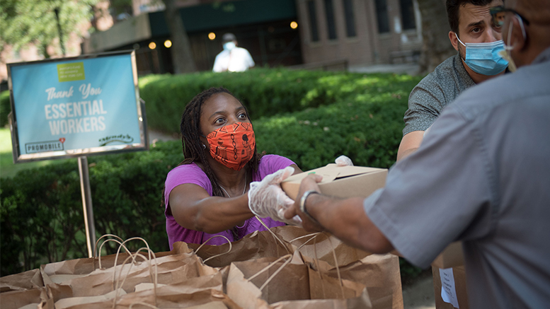 New York City's First Lady Chirlane McCray helps distribute packaged lunches to nursing home staff at Rutland Nursing Home in Brooklyn as part of the Food for Heroes Program on Tuesday, August 11 2020. (Michael Appleton/Mayoral Photography Office)