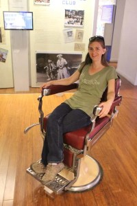Woman in barber chair