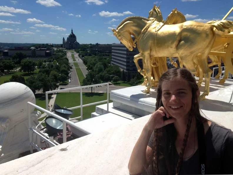 Sarah on the roof of the capitol in MN.