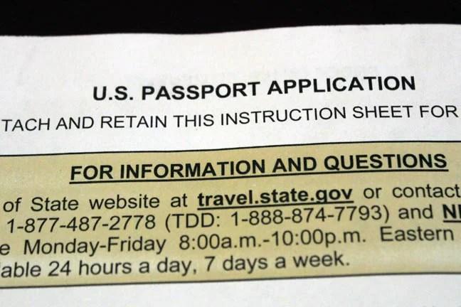 U.S. Passport Application.