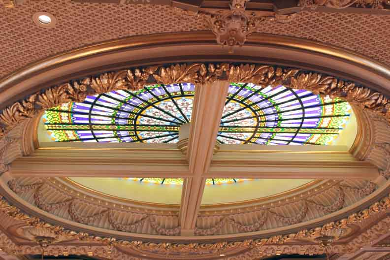 Pretty stained glass in the ceiling.