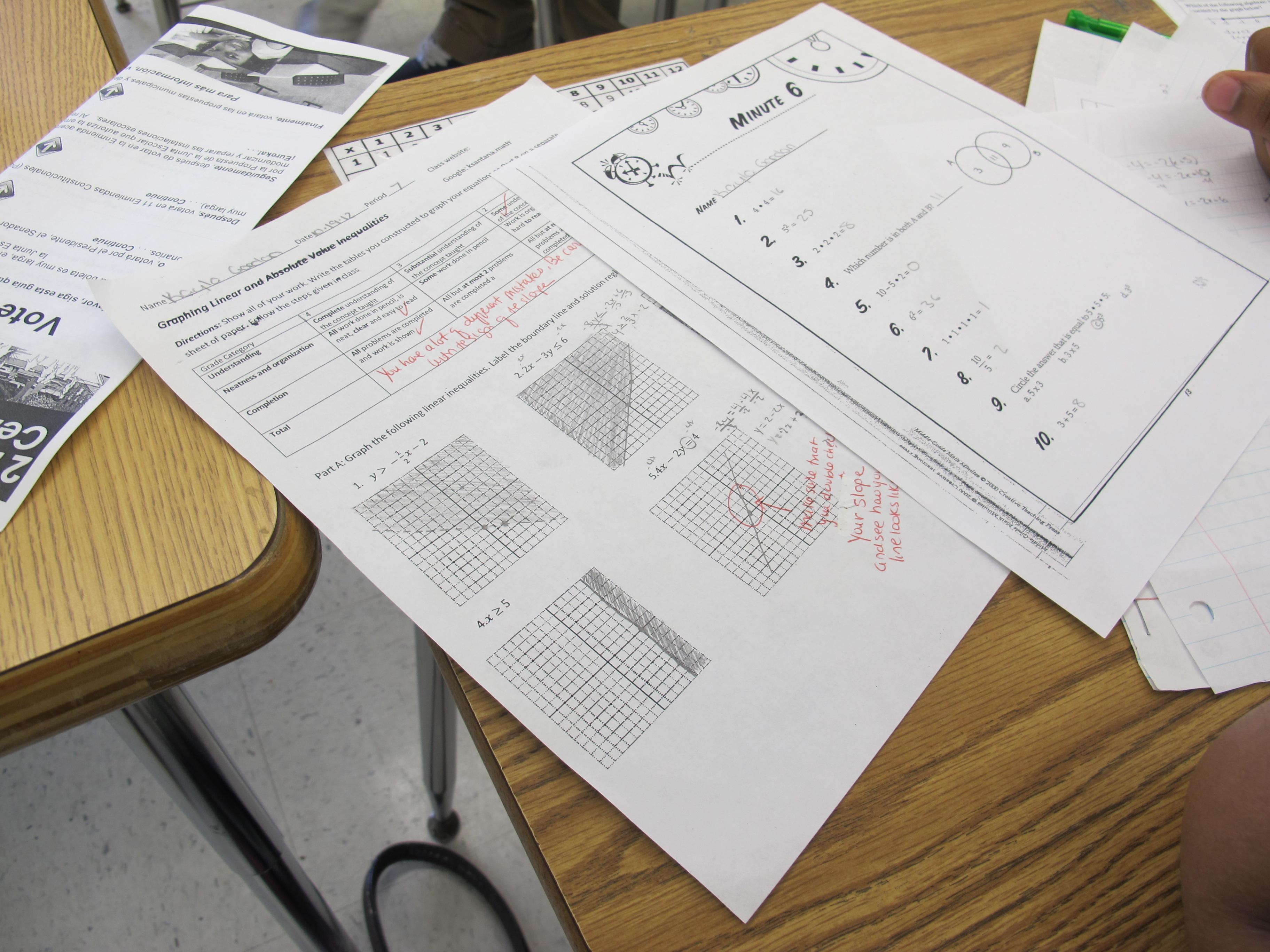 High School Math Work