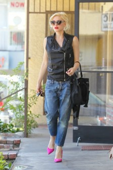 Gwen Stefani visits Jesun Acupuncture Clinic wearing tatty denim jeans and a black leather zipped bikers vest complimented with suede pink high heels Featuring: Gwen Stefani Where: Los Angeles, California, United States When: 04 Jun 2014 Credit: WENN.com