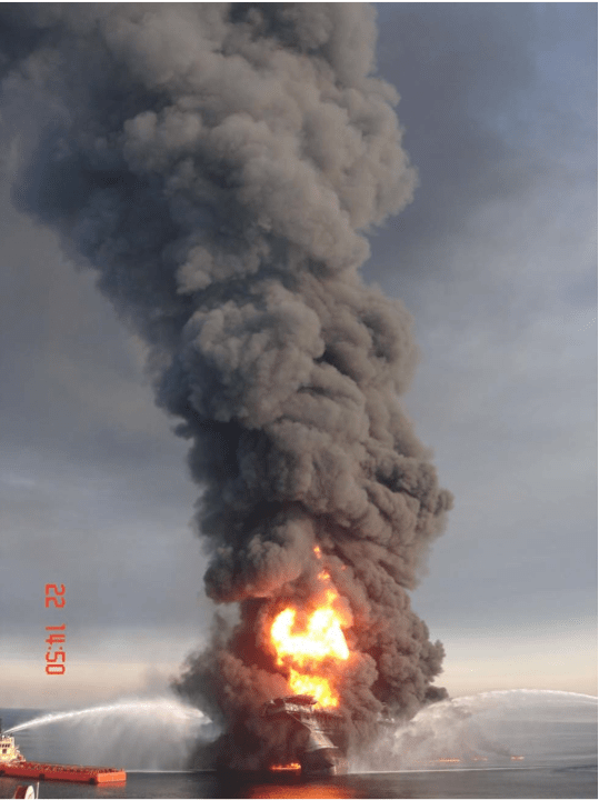 Oil rig fires like the Macondo explosion can disseminate airborne radioactive particles depending on the source of the hydrocarbons.