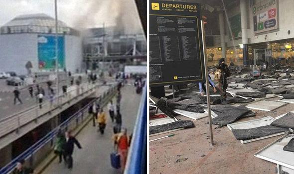 Passengers fleeing Brussels Airport