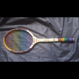 Billy Jean King Racquet You Define You (acrylics on Billy Jean King Bancroft tennis racquet)