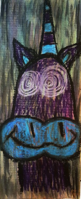 Trippicorn (watercolor, pastels on wood 13 x 5.5 x .75)