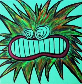 Bonx (acrylics on green canvas 8X8)