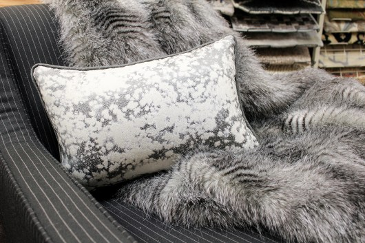 Beautiful fox like print throw with harmonizing gray silver spotted home decor pillow