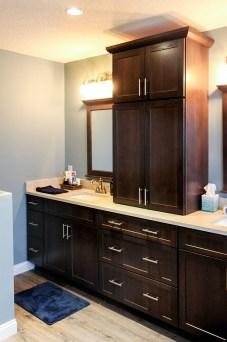 dark wood bathroom cabinets silver handles granite remodeling