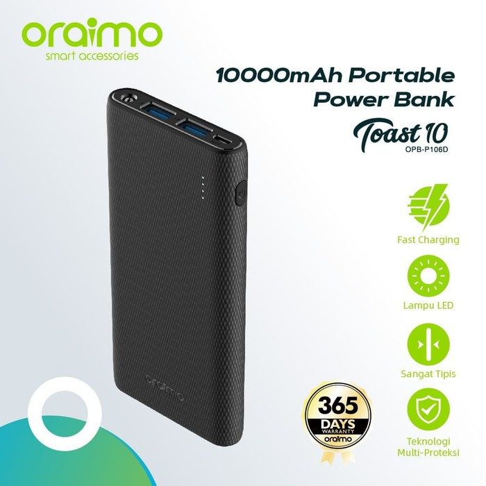 Oraimo Toast 10 OPB-P106D Ultimate Slim 10000mAh Power Bank: Buy Online at Best Prices in Bangladesh | Daraz.com.bd