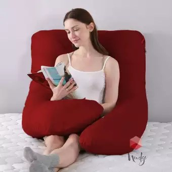 nudge premium pregnancy pillow u shaped pillow with 100 cotton zippered cover for pregnant women