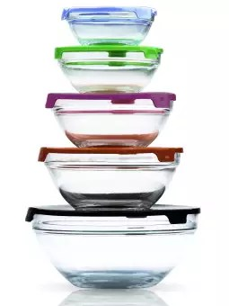 microwavable glass bowl set with lids pack of 5