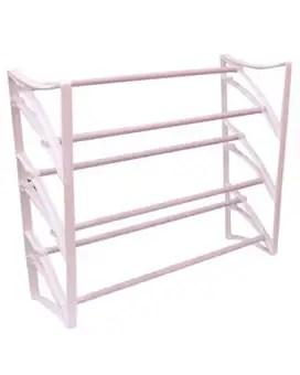 hi tech 3 tier floor shoe rack white
