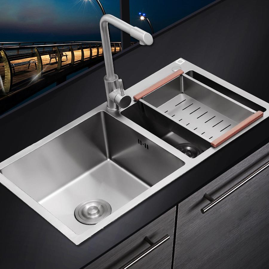 78 43 cm double bowl hand made stainless steel kitchen sink with faucet and all fitting kitchen sink