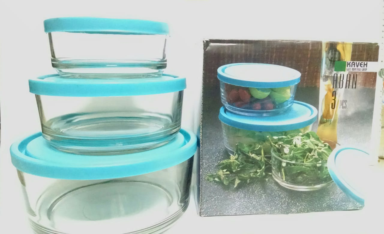3 pcs round glass bowls set food container freeze microwave oven safe air tight lid