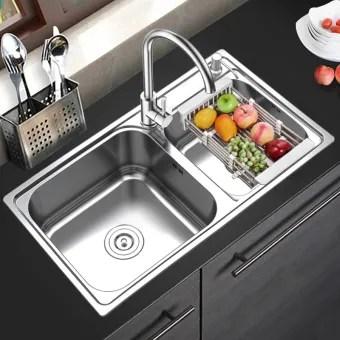 75 40cm stainless steel sink kitchen wash basin double slot wash basin kitchen sinks home essential series