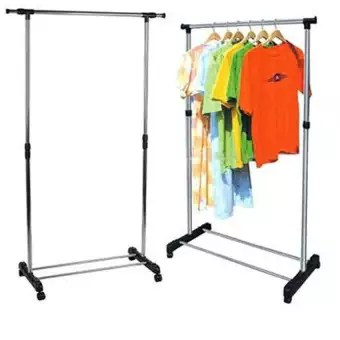 stainless stereel single pole cloth hanging rack with shoe stand cloth hanger storage organizer stand cloth towel dress drying rack bag hanging