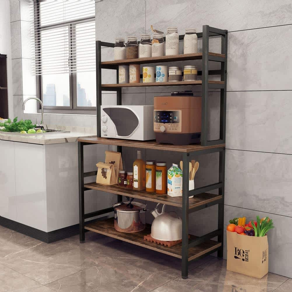 5 tier kitchen bakers rack with hutch industrial microwave oven stand free standing kitchen utility cart storage shelf organizer