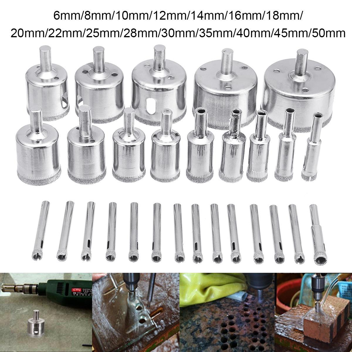 28pcs diamond drill bits kit hole saw cutter for glass marble granite tile 6 50mm